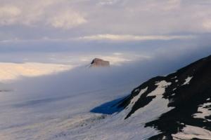 Castle Rock, shrouded in fog